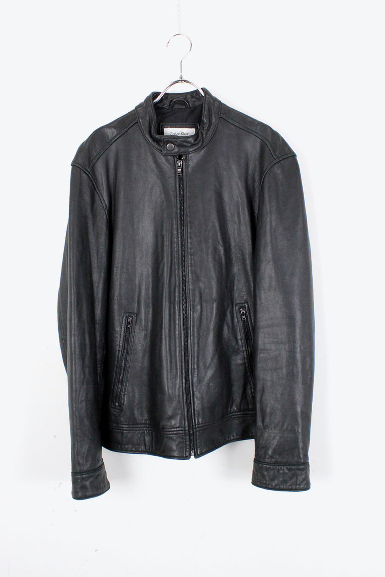 LEATHER JACKET / BLACK [SIZE: L USED]