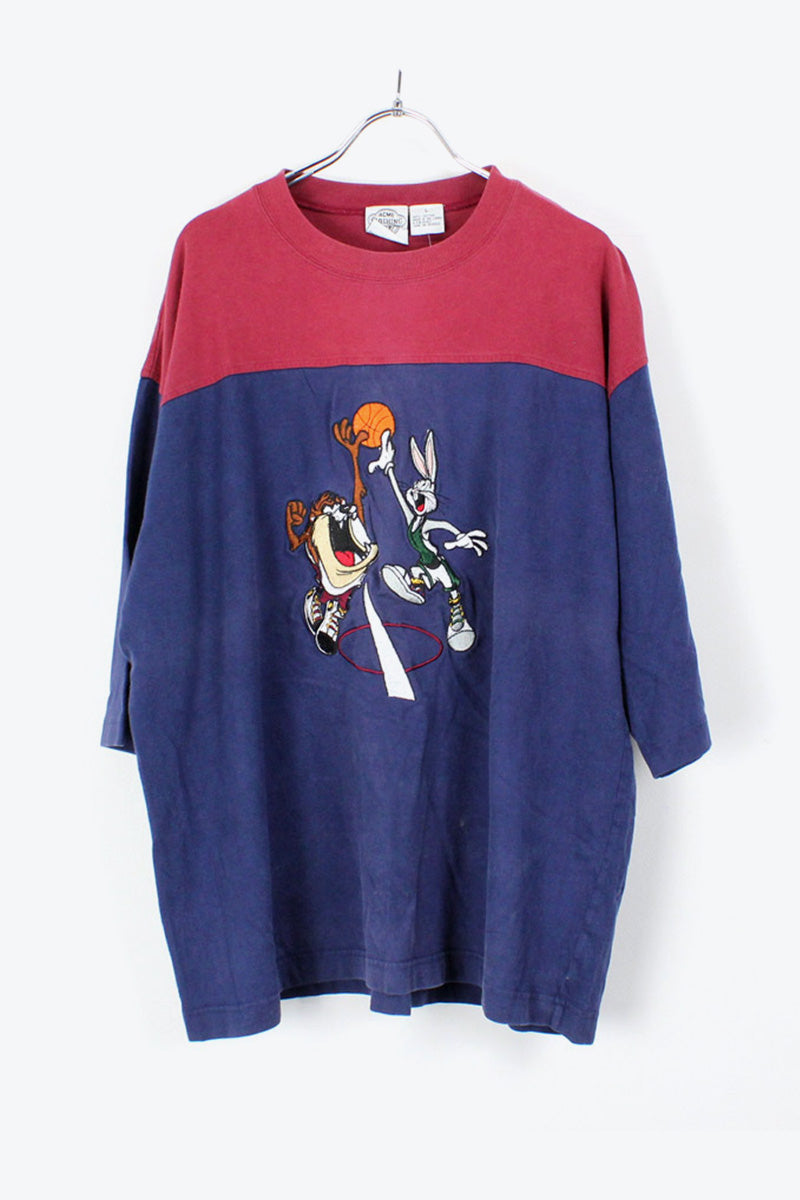 90'S S/S EMBROIDERY T-SHIRT / BURGUNDY/NAVY [SIZE:L USED] [金沢店]
