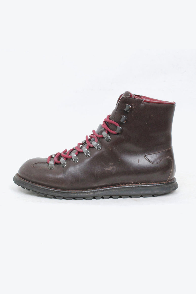 MADE IN ITALY LEATHER HIKING BOOTS / BROWN [SIZE: 39(24.5cm相当) USED][金沢店]