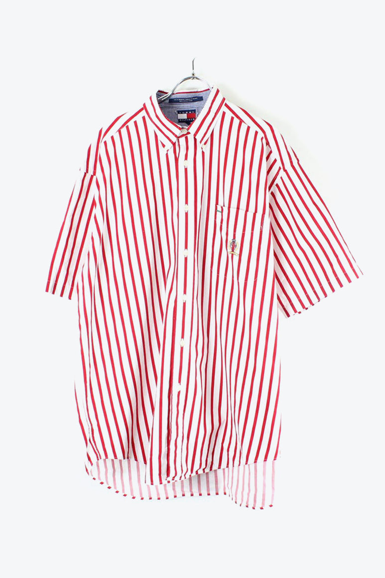 90'S S/S STRIPE SHIRT / RED【SIZE:L USED】【金沢店】