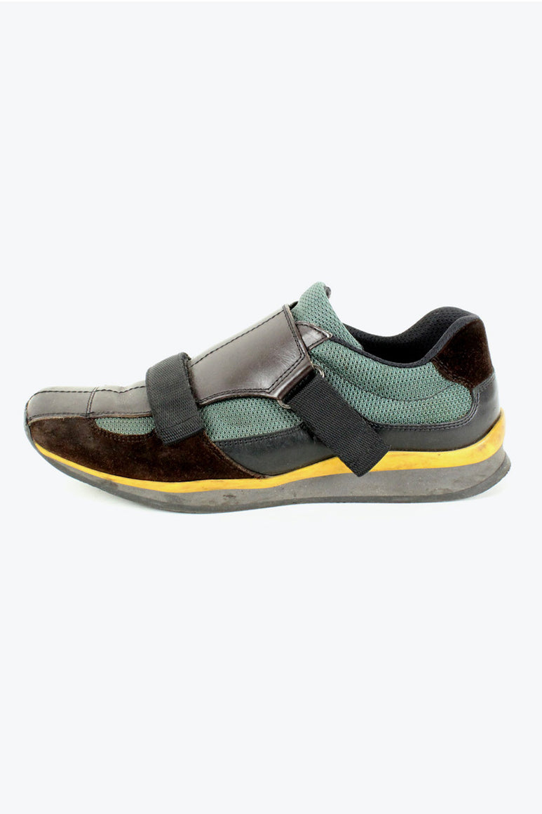 MADE IN ITALY MONKSTRAP SNEAKERS / BROWN GREEN [SIZE: US8(26cm) USED][金沢店]