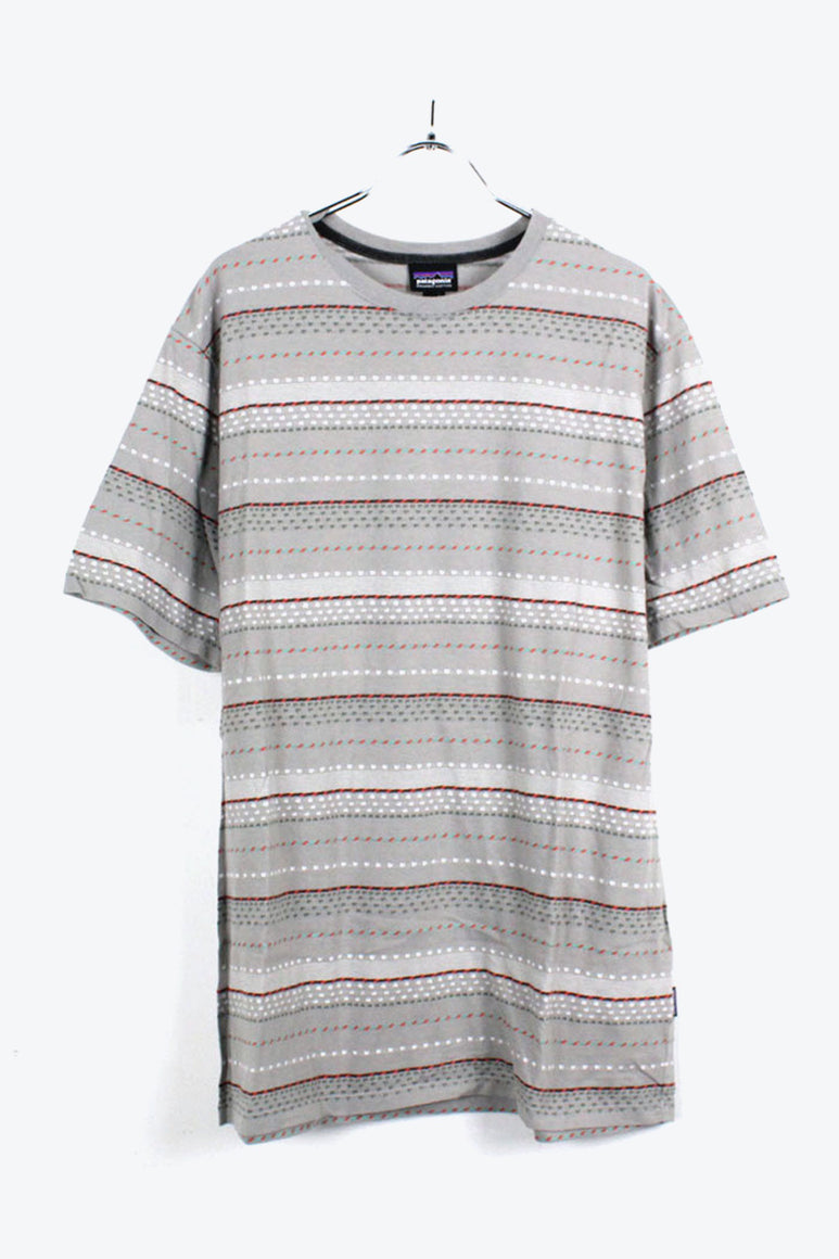 ORGANIC COTTON BORDER PATTERNED T-SHIRT / GREY [SIZE:L USED] [金沢店]