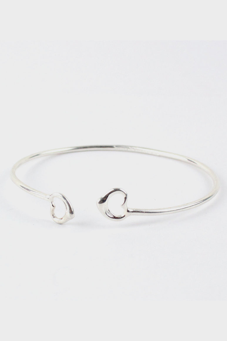 925 SILVER DOUBLE OPEN HEART BANGLE [SIZE:O/S USED][金沢店]