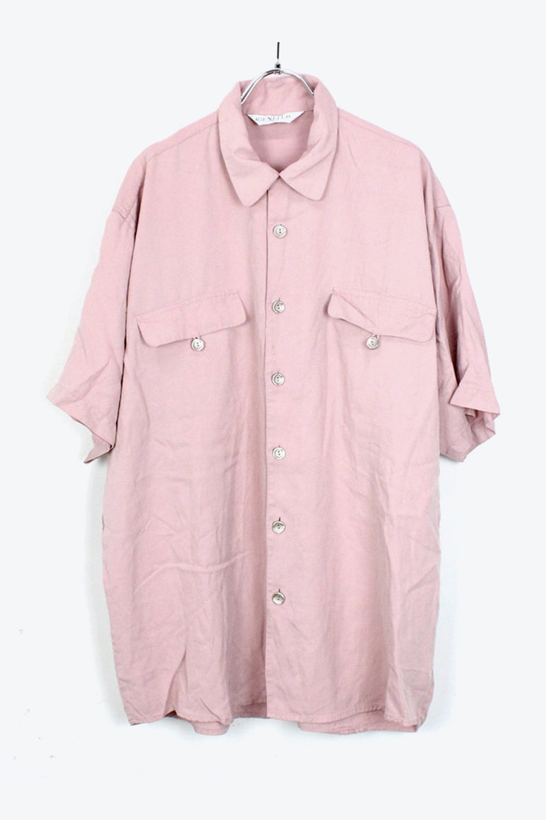 90'S S/S OPEN COLLAR SILK SHIRT / PALE PINK【SIZE:XL USED】【金沢店】