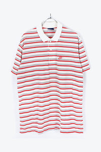 90'S S/S BORDER POLO SHIRT / WHITE/RED【SIZE:L相当 USED】【金沢店】