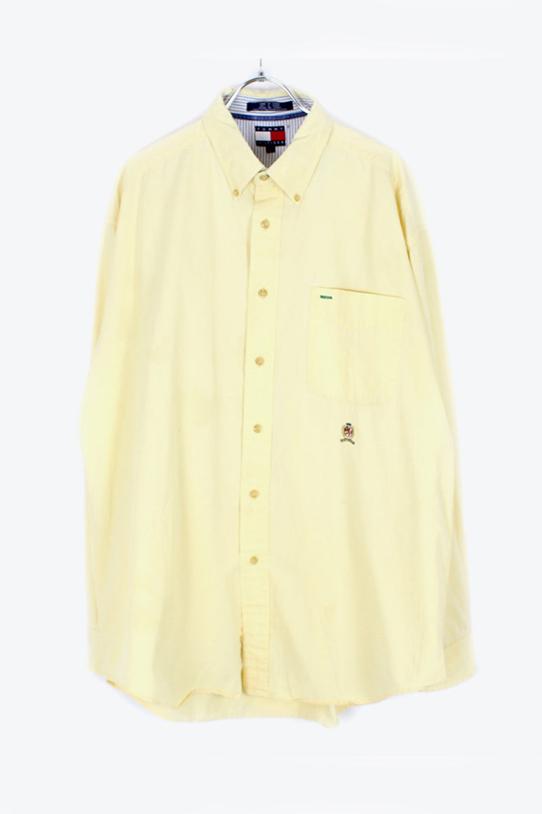 90'S L/S BD COTTON TWILL SHIRT / LIGHT YELLOW [SIZE: L USED][金沢店]