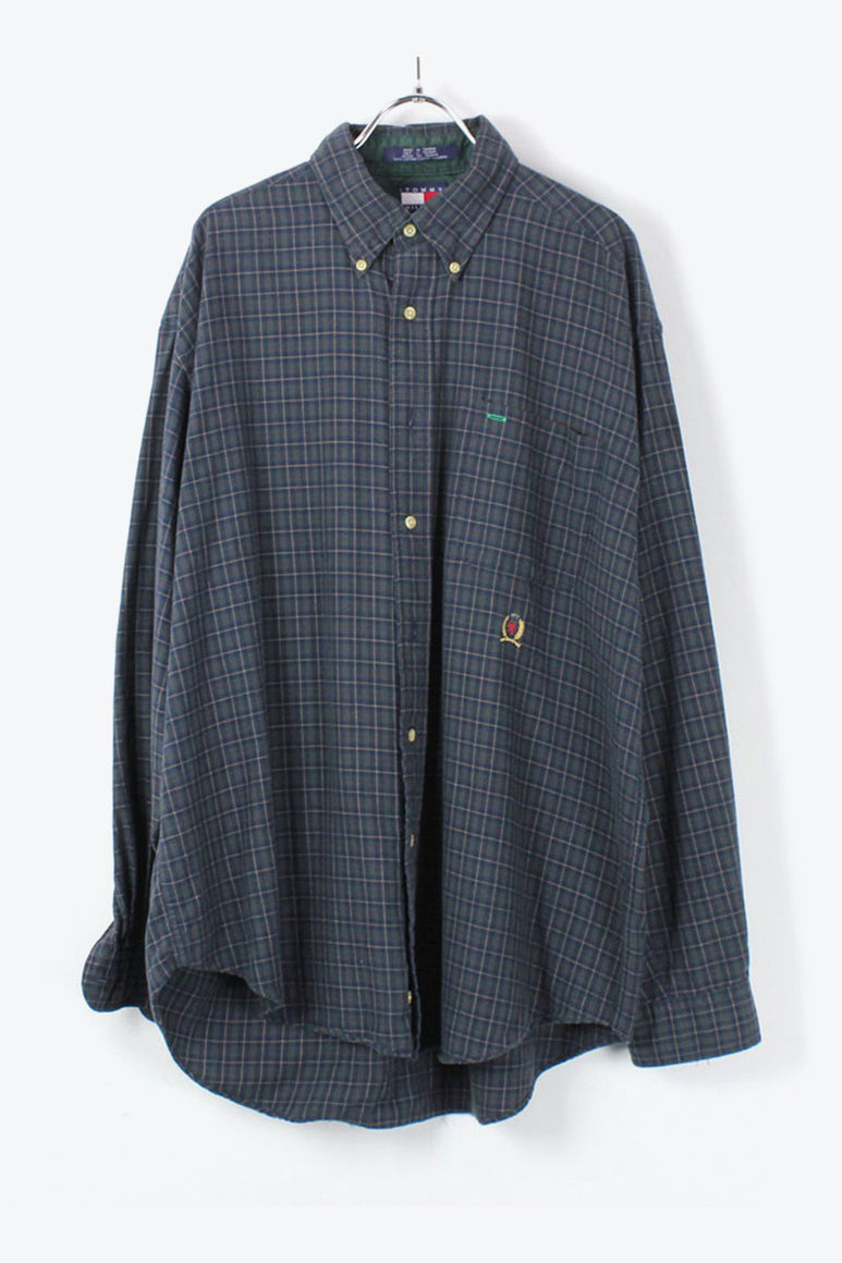 90'S L/S BD CHACK SHIRT / GREEN [SIZE: L USED][金沢店]