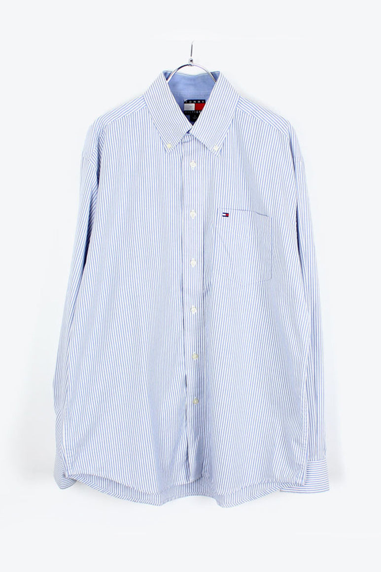 90'S L/S BD OXFORD STRIPE SHIRT / BLUE [SIZE: M USED][金沢店]