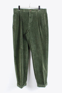 TUCK CORDUROY SLACKS PANTS / GREEN [SIZE:34x30 USED][金沢店]