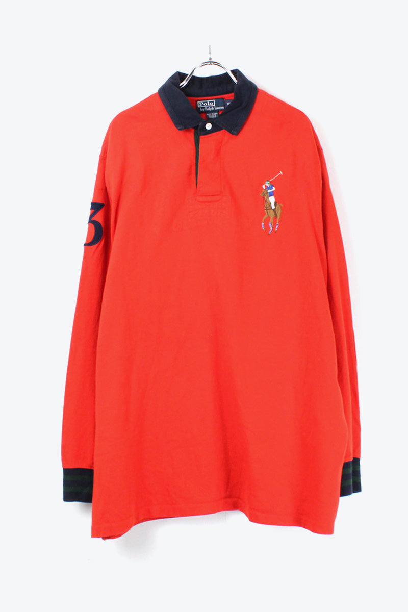 90'S L/S POLO SHIRT / RED NAVY [SIZE: XL USED][金沢店]
