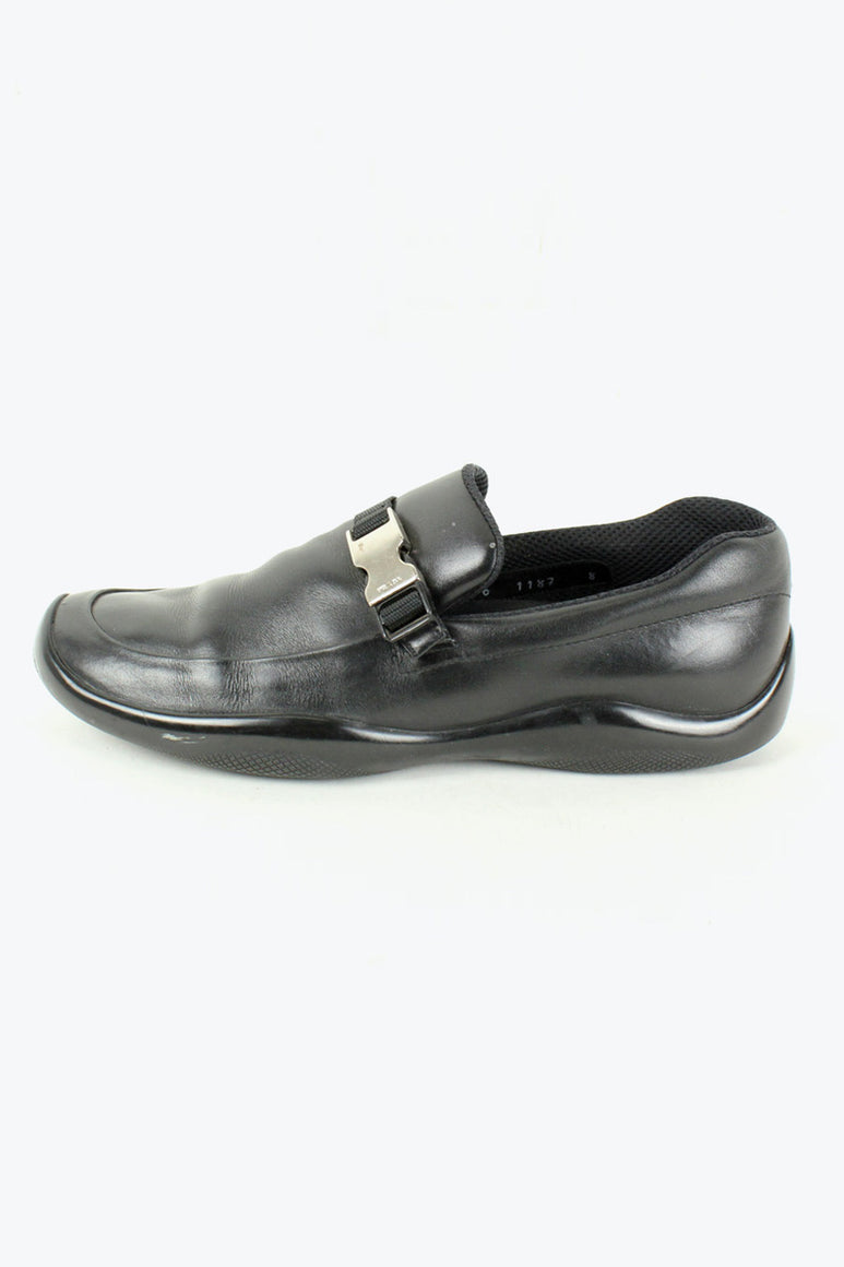 MADE IN ITALY LEATHER LOAFER / BLACK [SIZE: US9(27cm相当) USED][金沢店]