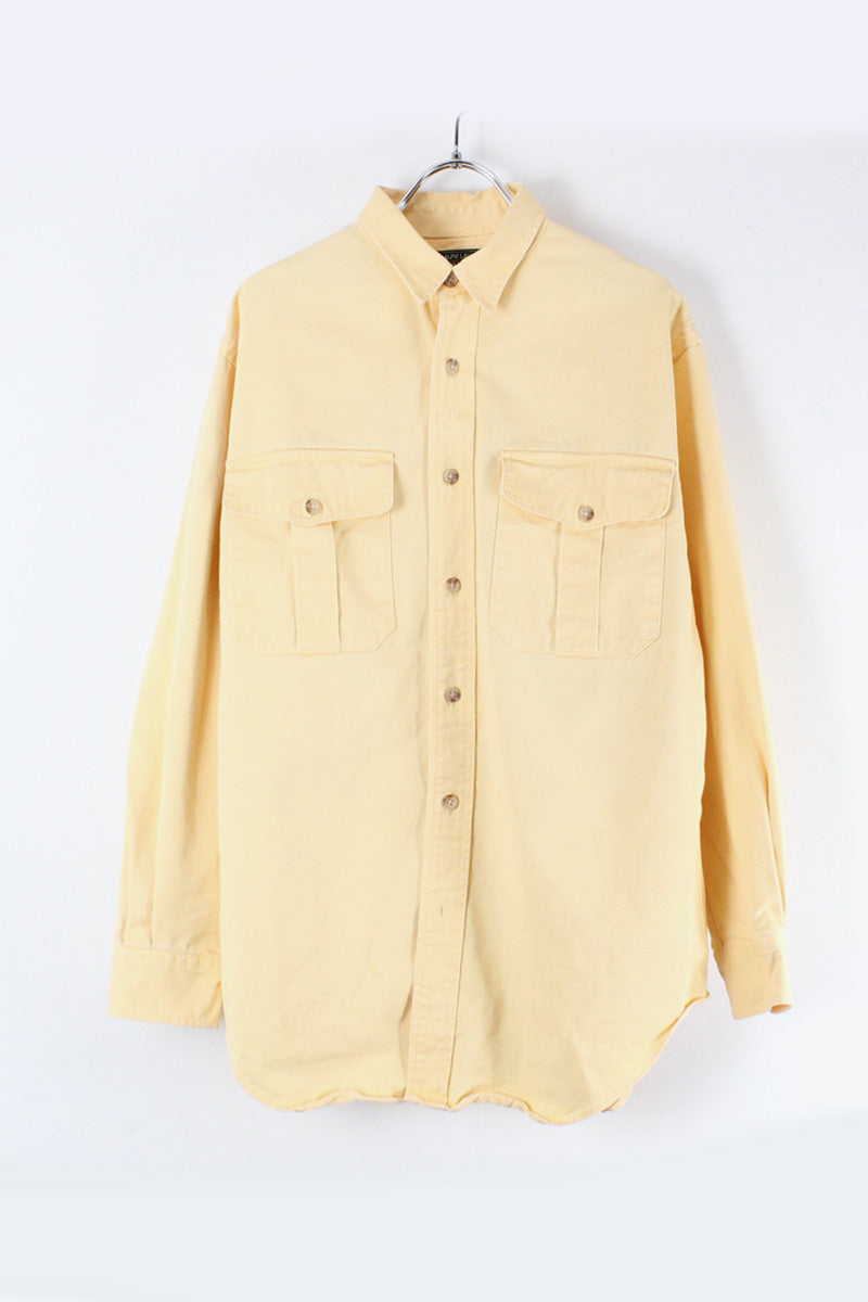 MADE IN USA 90'S L/S COUNTRY SHIRT / YELLOW [SIZE: S USED][小松店]