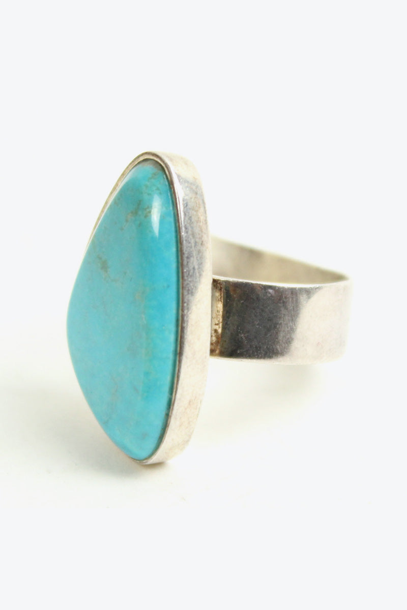SILVER 925 RING W/TURQUOISE STONE [SIZE:18号相当 USED][金沢店]