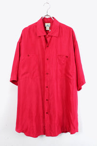 90'S S/S SILK SHIRT / RED【SIZE:L USED】【金沢店】