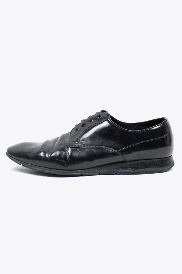 MADE IN ITALY PLAIN TOE LEATHER SHOES / BLACK [SIZE: US9(27cm相当) USED][金沢店]