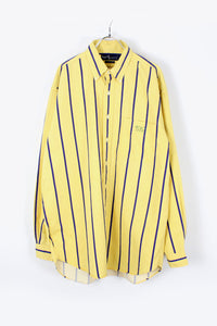 90'S L/S STRIPE SHIRT / YELLOW NAVY [SIZE: XL USED][小松店]