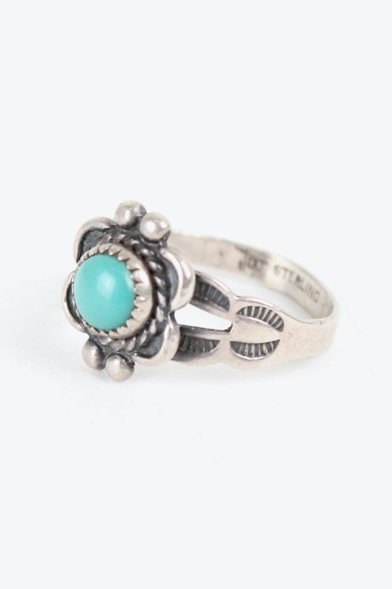 MADE IN USA 925 SILVER RING TURQUOISE STONE【SIZE: 5号相当 USED】【金沢店】