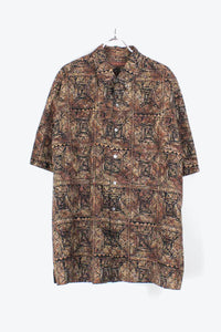 90'S S/S PATTERN SHIRT / BLACK/BROWN【SIZE: L USED】【金沢店】