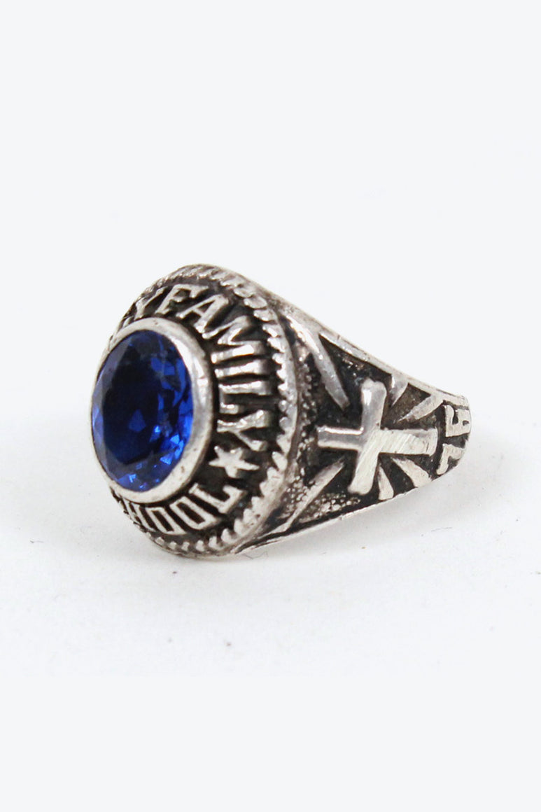 STALING SILVER COLLEGE RING W/BLUE STONE [SIZE: 15号相当 USED][金沢店]