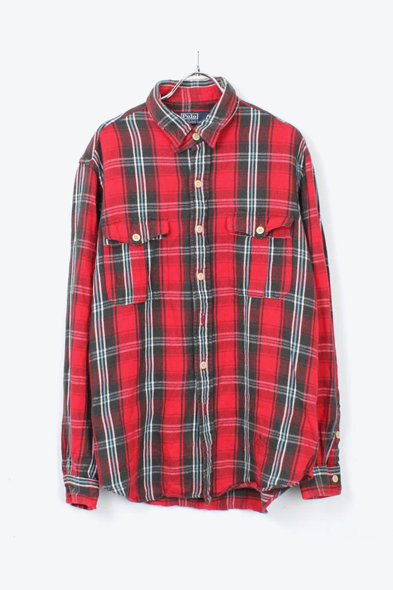 90'S L/S COTTON CHECK FLANNEL SHIRT / RED CHECK [SIZE: L USED][金沢店]