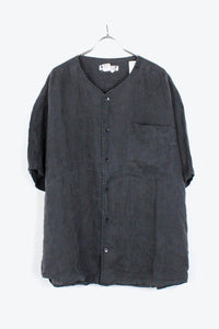90'S S/S NO COLLAR LINEN SHIRT / CHARCOAL【SIZE:M USED】【金沢店】