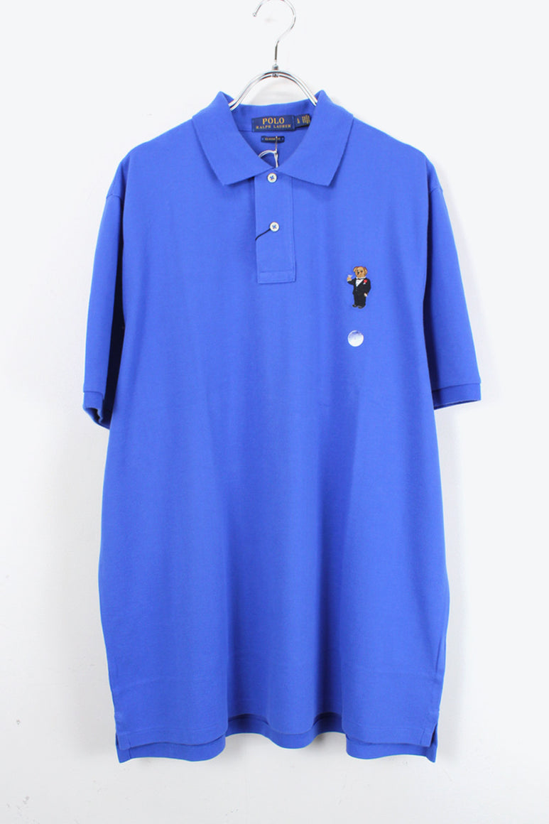 S/S BEAR ONE POINT POLO SHIRT / BLUE【SIZE:L NEW】【金沢店】
