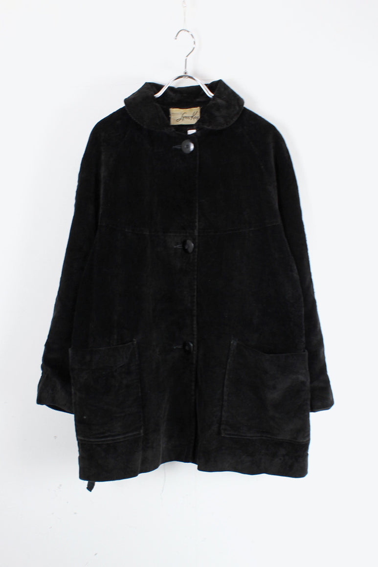 90'S CORDUROY BUTTON JACKET / BLACK [SIZE: M相当 USED]