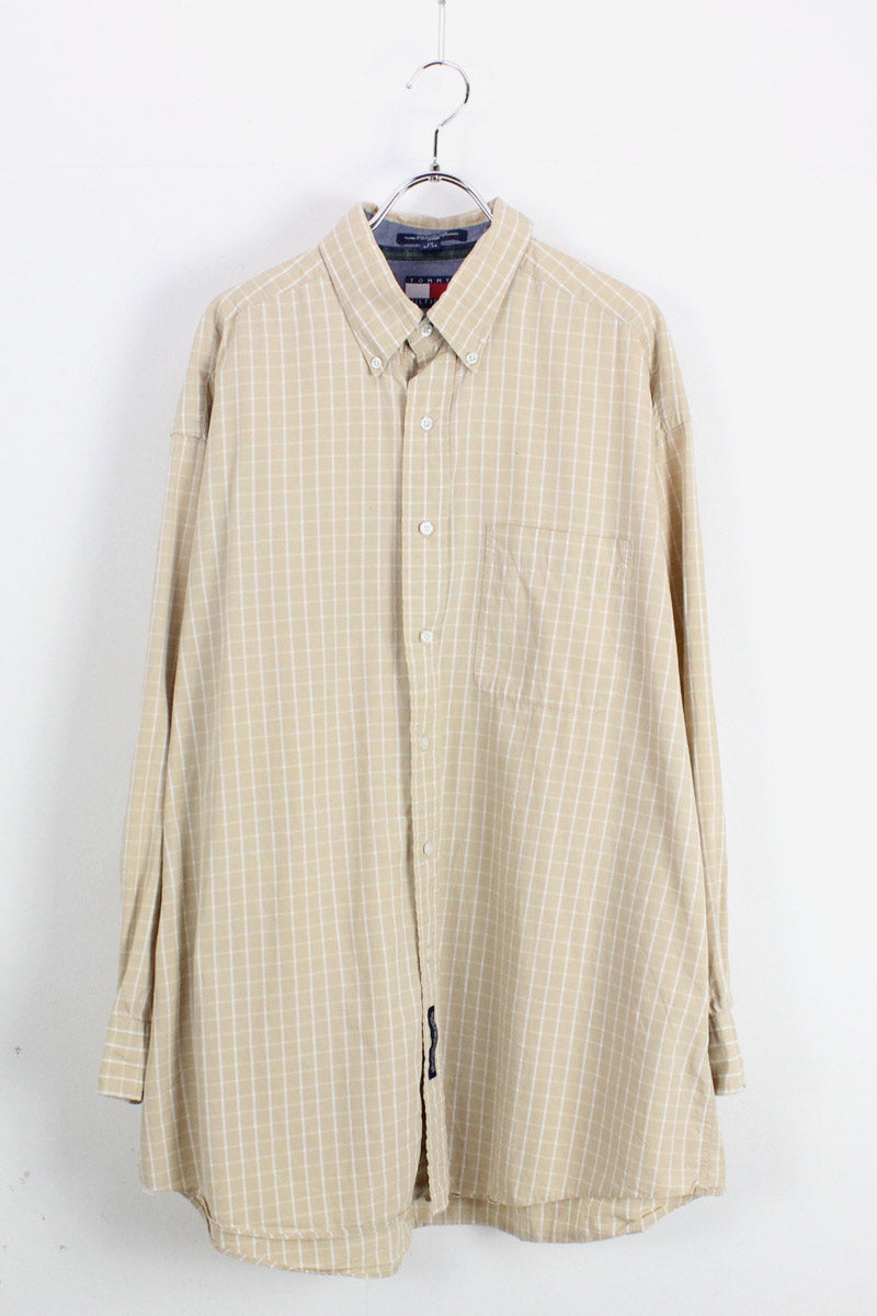 90'S L/S COTTON CHECK SHIRT / BEIGE/WHITE【SIZE:2XL相当 USED】【金沢店】