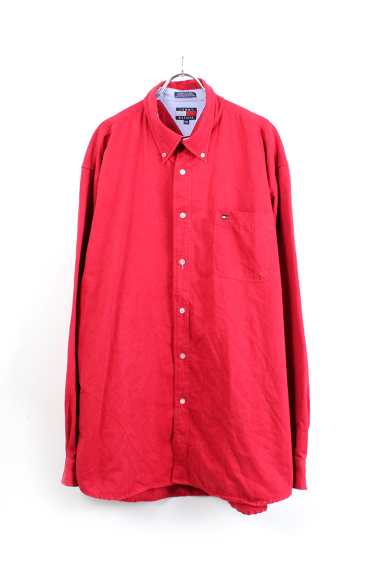 90'S L/S COTTON BD SHIRT / RED [SIZE: 2XL USED][金沢店]