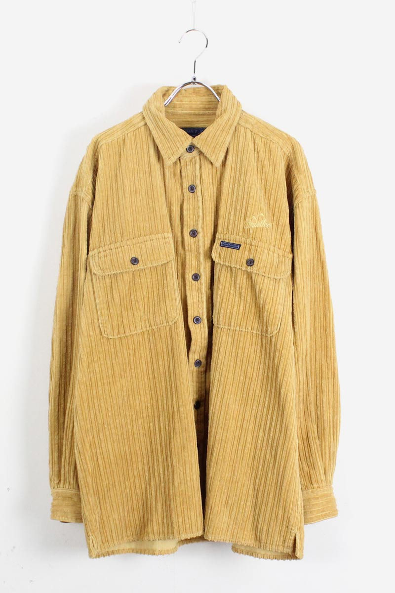 90'S L/S CORDUROY SHIRT / LIGHT YELLOW【SIZE:M USED】【金沢店】
