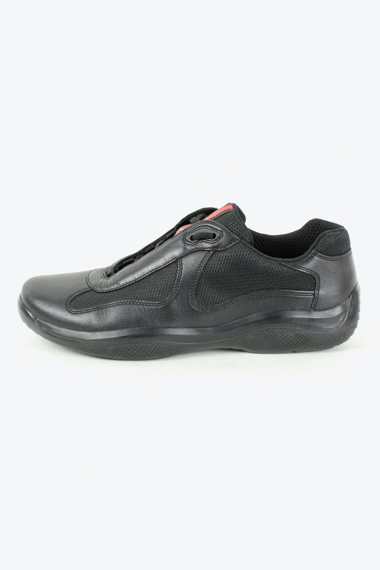 MADE IN ITALY LEATHER SNEAKERS / BLACK [SIZE: US9(27cm) USED][小松店]