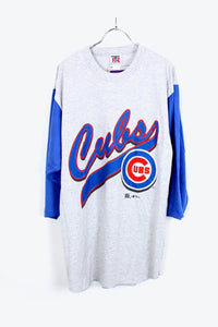 MADE IN USA 90'S CUBS BASEBALL T-SHIRT / GRAY/BLUE [SIZE:L DEAD STOCK] [小松店]
