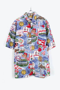 MADE IN HAWAII 90'S S/S PATTERN SHIRT / RED/LIGHT BLUE【SIZE:L USED】【金沢店】