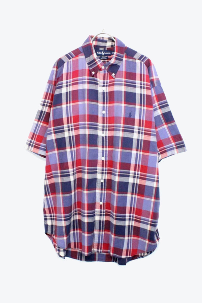 S/S BD CHECK SHIRT / PURPLE/RED【SIZE:XL USED】【小松店】