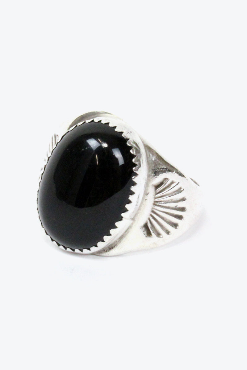 925 SILVER RING w/ONYX【SIZE: 22号相当 USED】【小松店】