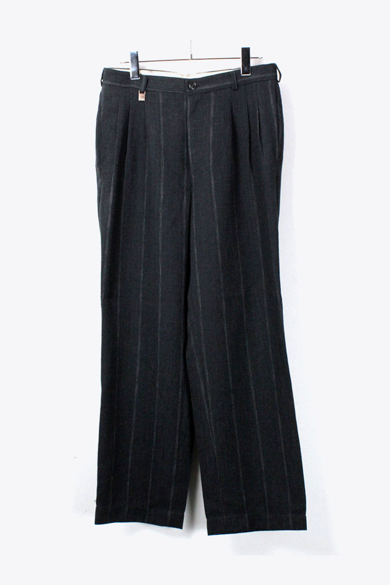 TUCK PIN STRIPE SLACKS TROUSERS / CHARCOAL [SIZE:30相当 USED][金沢店]