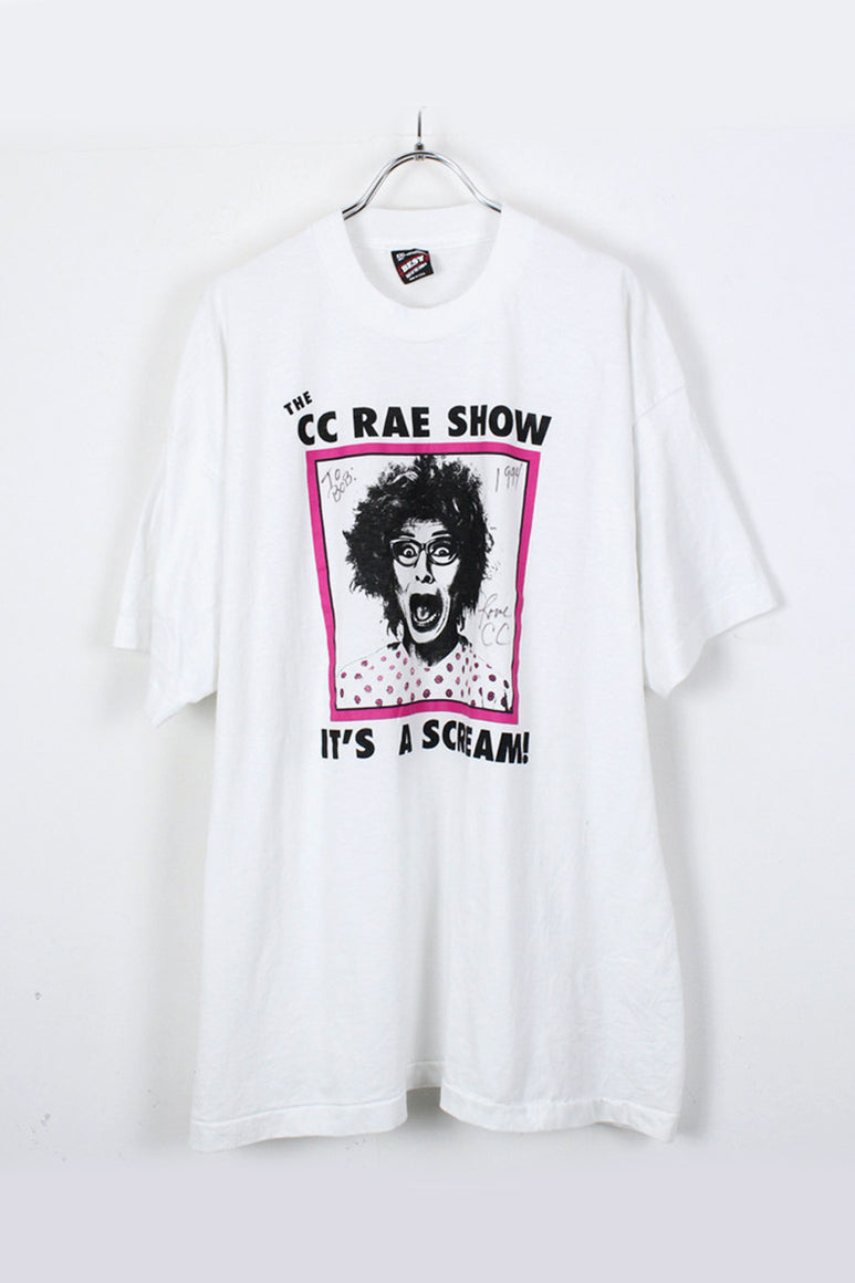 MADE IN USA THE CC RAE SHOW PRINT T-SHIRT / WHITE [SIZE:2XL USED][金沢店]