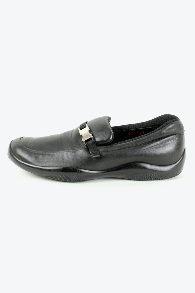 MADE IN ITALY LEATHER LOAFER / BLACK [SIZE: 39(24cm相当) USED][金沢店]