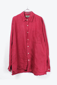 90'S L/S LINEN SHIRT / BURGUNDY [SIZE: M USED][金沢店]