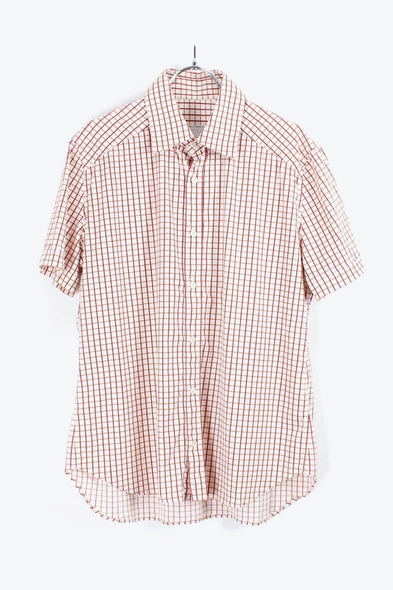 S/S CHECK SHIRT / WHITE/RED【SIZE:M相当 USED】【金沢店】