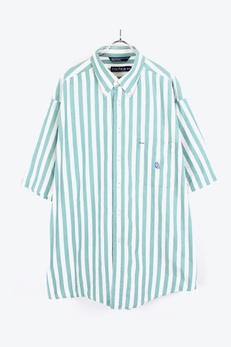 90'S S/S BD STRIPE SHIRT / GREEN/WHITE【SIZE:XL USED】【小松店】