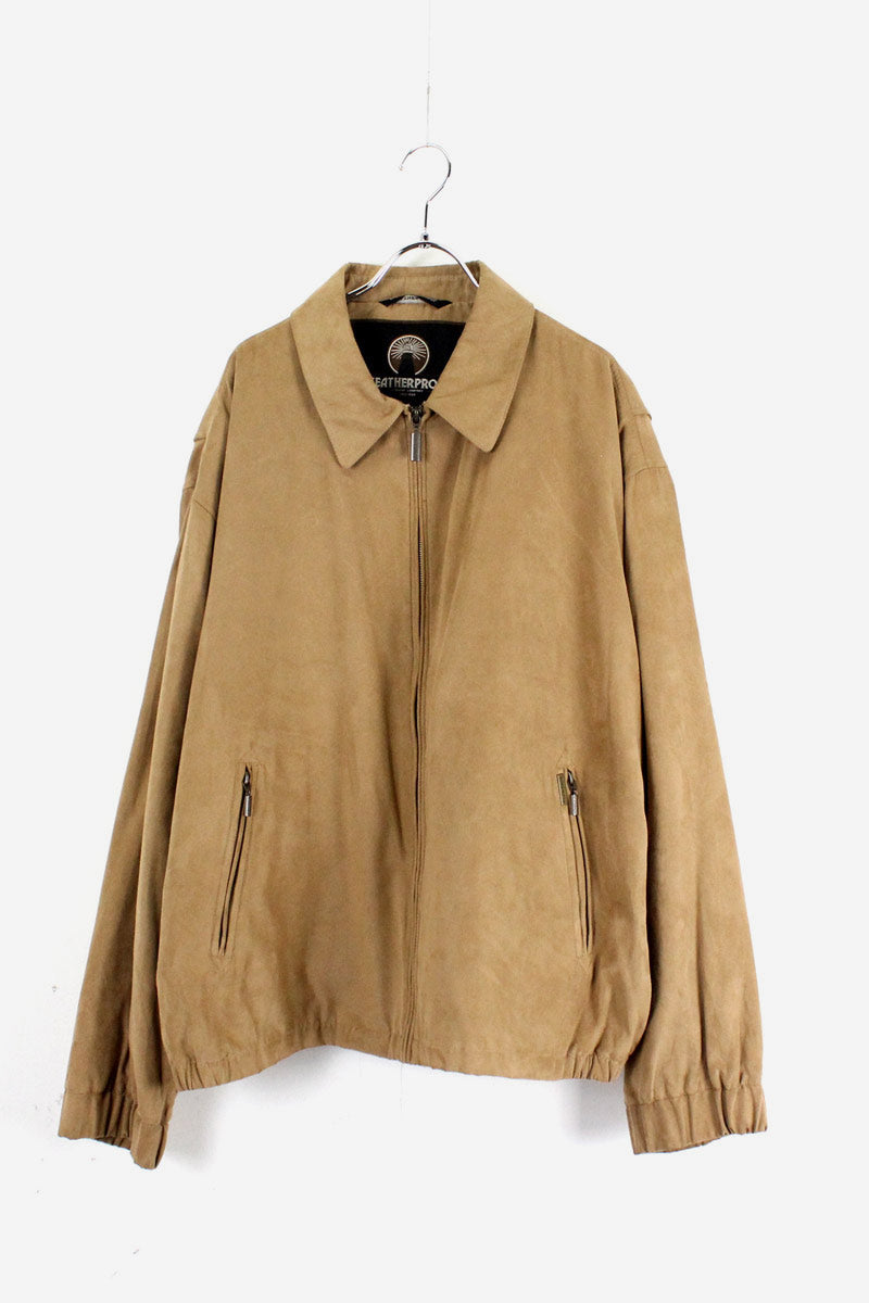 IMITATION SUEDE ZIP JACKET / CAMEL【SIZE:XL USED】【金沢店】
