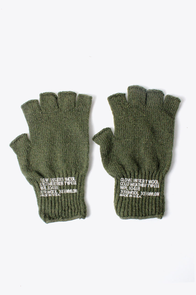 GI WOOL FINGERLESS GLOVE / OLIVE [NEW]