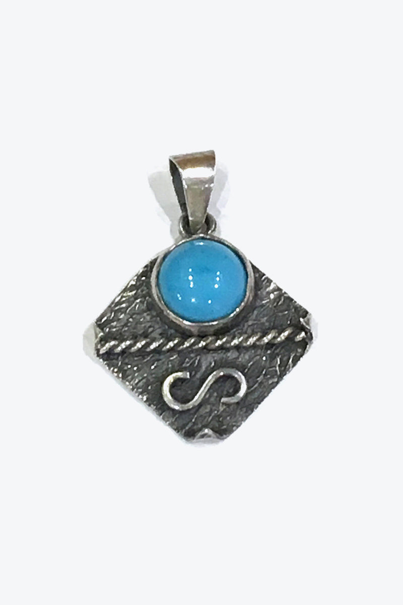 MADE IN USA SILVER NECKLACE TOP w/TURQUOISE【ONE SIZE: USED】【小松店】
