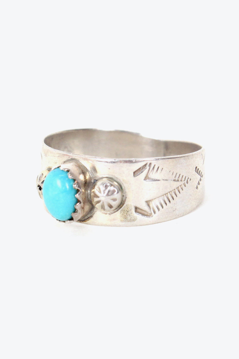 MADE IN USA 925 SILVER RING TURQUOISE STONE【SIZE: 14号相当 USED】【金沢店】