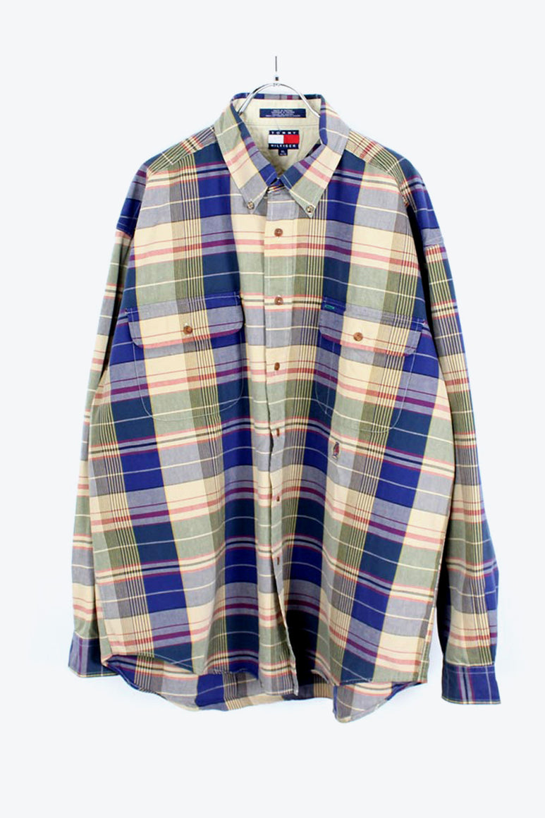 90'S L/S BD MADRAS CHECK SHIRT / MADRAS CHECK [SIZE: XL USED][金沢店]
