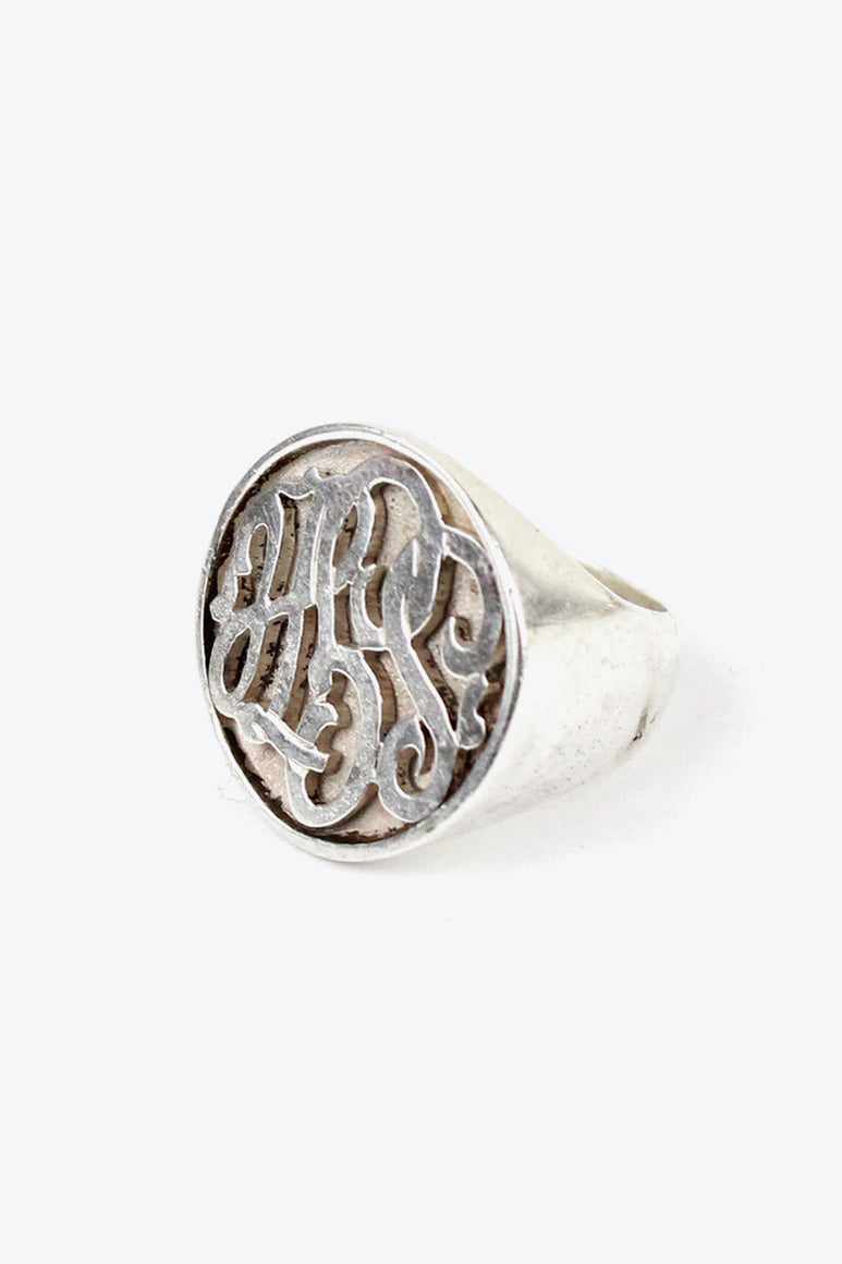 STERLING SILVER SIGNET RING [SIZE: 14号相当 USED]
