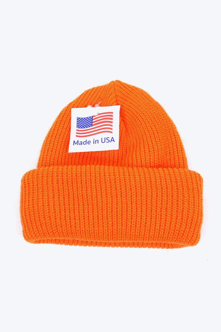 MADE IN USA ACRTLIC WATCH KNIT CAP / BRAZE ORANGE