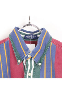 90'S S/S BD STRIPE SHIRT / NAVY/ RED【SIZE:M  USED】【金沢店】