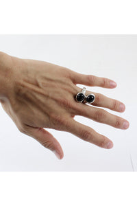 925 SILVER RING W/ONYX [SIZE:13号相当 USED][金沢店]